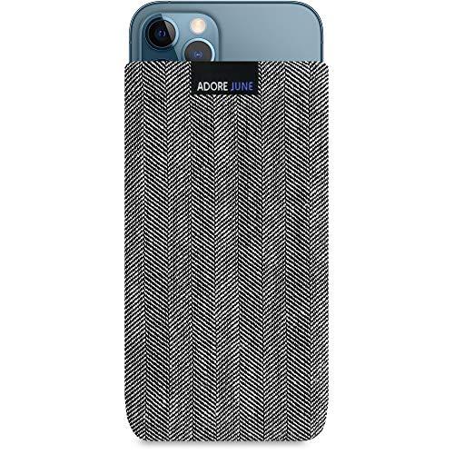 Adore June Business Tasche kompatibel mit iPhone 13 / iPhone 13 Pro/iPhone 12 / iPhone 12 Pro Handytasche aus charakteristischem Fischgrat Stoff - Grau/Schwarz, Bildschirm Reinigungs-Effekt