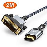 HDMI-DVI 変換ケーブル 1.8M 双方向対応 dvi hdmi 変換ケーブル 1080P対応 DVI-D オス-HDMI タイプAオス Xbox 360, PS4, PS3, Apple TVに適用 (1.8M, グレー)