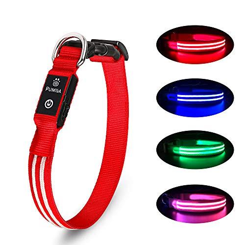 Collar Luminoso para Perros Recargable LED Collar para Perros 3 Modos de Iluminación Impermeable Ajustable Súper Brillante para Perros Pequeños Medianos Grandes Caminata Nocturna - Rojo M