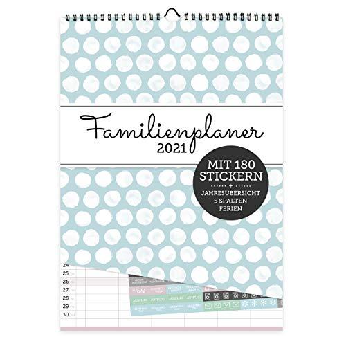 Familienplaner mit 5 Spalten 2021 zum Aufhängen | Wochenplaner als Wandkalender für Familien I Inklusive 168 Sticker, Ferienterminen, Feiertagen, uvm.