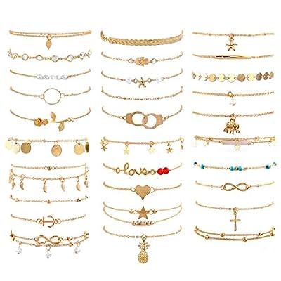 30 ankle bracelets for women set, adjustable size beach anklet set, golden chain beach anklet, jewelry anklet for Women Beach Jewelry Gifts