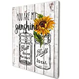 akeke You are My Sunshine Sunflower Inspirational Rustic Farmhouse Wood Wall Art Decor 8'x10'