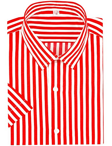 DOKKIA Men's Business Short Sleeve Vertical Striped Dress Shirts (Red White, X-Large)