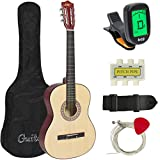 Best Choice Products 38in Beginner All Wood Acoustic Guitar Starter Kit w/Case, Strap, Digital Tuner, Pick, Strings - Natural