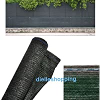Malla de sombreo, 90% de ocultación, 4 x 10 m, tela verde oscura, para uso en jardín