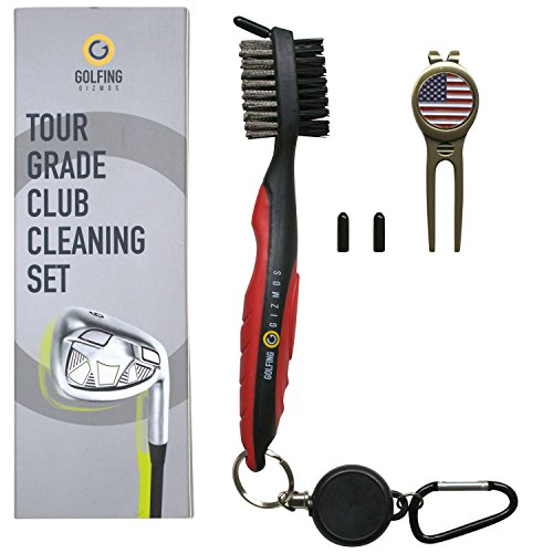 Golfing Gizmos Golf Club Brush Cleaner - Premium Tour Grade and Heavy Duty - Ideal Golf Gift for Golfers - Bonus Golf Divot Tool (Black/Red)