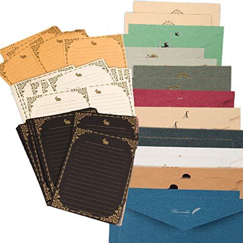 レターセット シンプル アンティーク メッセージカード 封筒付 グリーティングカード バースデーカード かわいいメッセージを大切な人へ 封筒 20枚 便箋 30枚