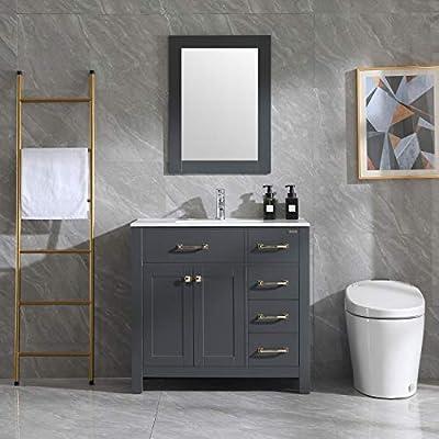 """Wonline 36"""" Gray Bathroom Vanity and Sink Combo Cabinet Undermount Ceramic Vessel Sink Chrome Faucet Drain Golden Handles with Mirror Vanities Set"""