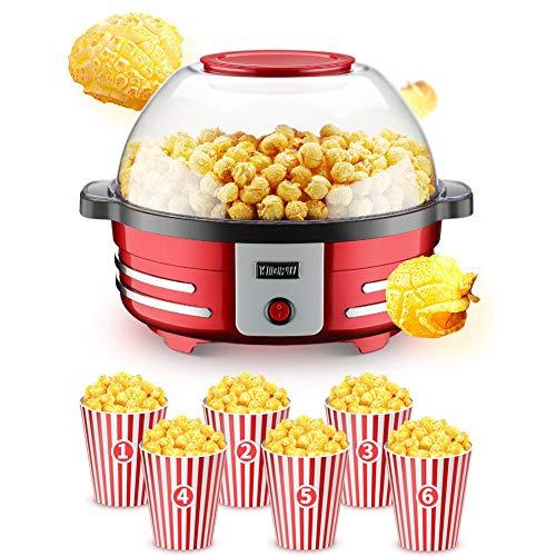 AZCSPFALB Automática Máquina de Palomitas Aire Caliente con Recubrimiento Antiadherente de Grado Alimenticio, 5L Gran Capacidad Máquina de Palomitas de Maíz Gourmet, Sin Grasa Popcorn Maker
