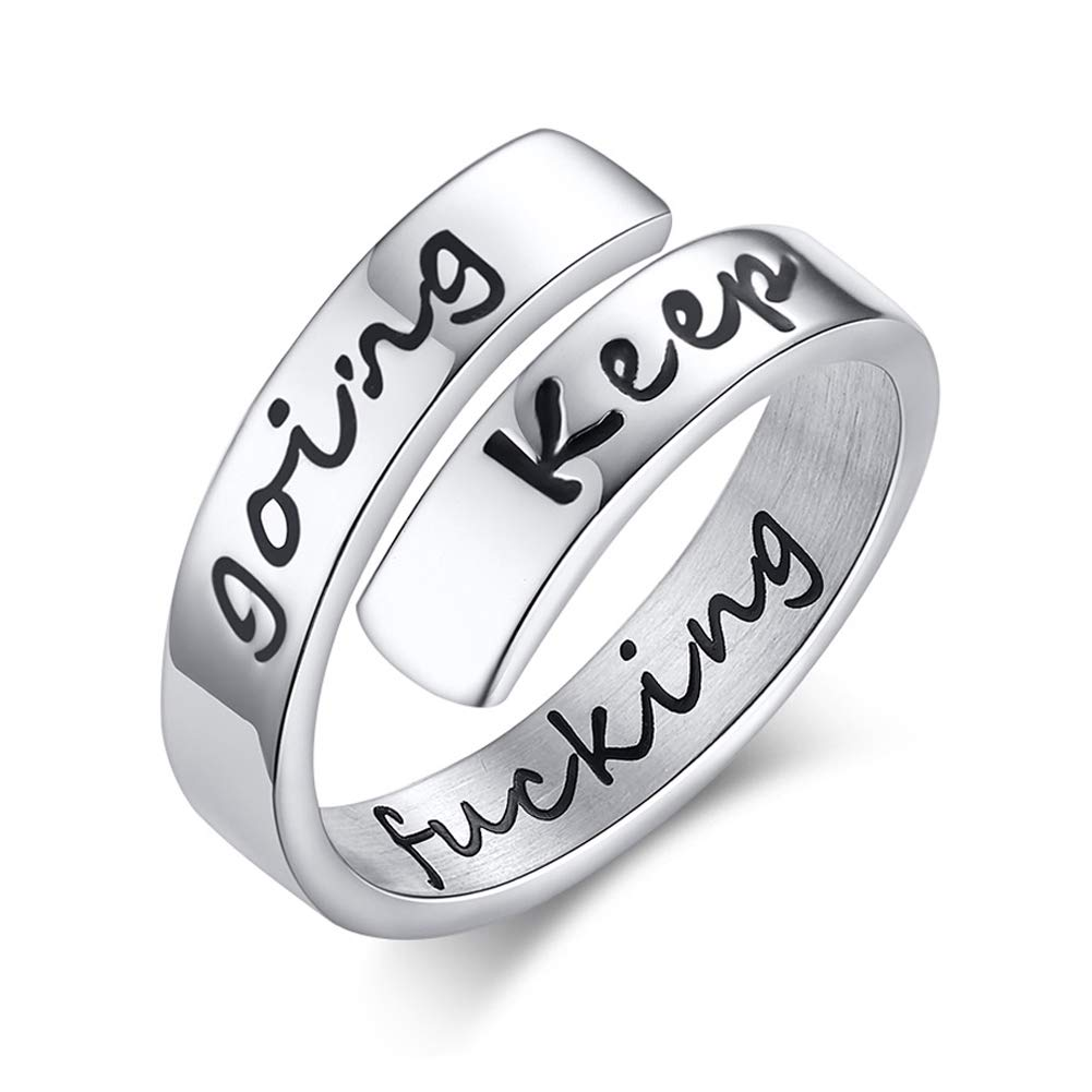 SWOPAN Inspirational Motivational Ring for Men Women Mantra Quote Stainless Steel Personalized Ring Friendship Relationship Encouragement Bands Mantra Jewelry Birthday Gift for Boys Girls US Size 6-12