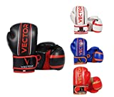 VECTOR SPORTS Kinder-Boxhandschuhe Maya-Leder, handgefertigt, für Boxen Kickboxen, MMA, Sparring, Training mit Boxsack,113-170 g (schwarz, 4 Oz)