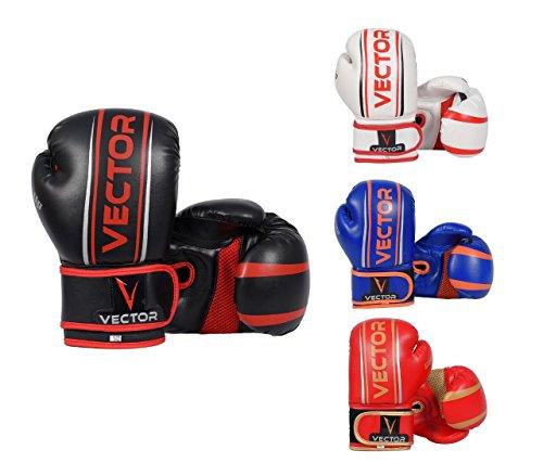 VECTOR SPORTS Kinder-Boxhandschuhe Maya-Leder, handgefertigt, für Boxen Kickboxen, MMA, Sparring, Training mit Boxsack,113-170 g (schwarz, 6 Oz)