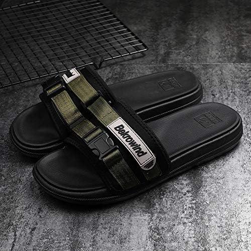Shukun Tongs Hommes Pantoufles pour La Mode D'été des Hommes Porter Un Word Drag Intérieur Sandales Bas Antidérapant en Plein Air pour Hommes