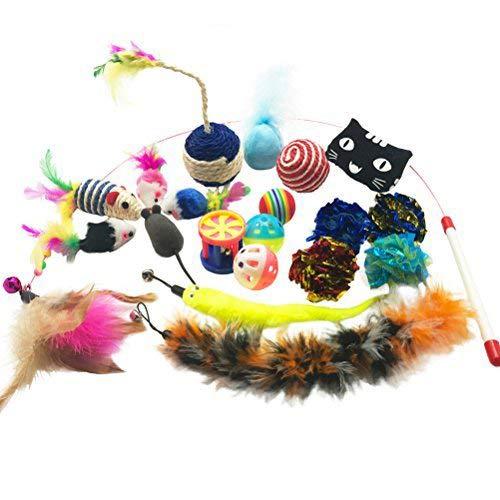 Yangbaga Juguetes Para Gatos Juguetes Interactivo Ratón Y Bolas Varias Con Campanas Y Plumas, Cabezas De Repuesto Y Catnip Ball Incluido Gatito Gato (25Pc)