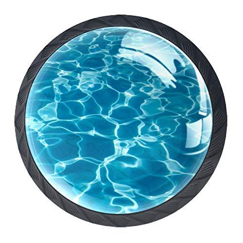 Manijas de cajón Tirador de cristal redondo para el hogar Cocina Cómoda Armario Mar Océano Ola Piscina Agua