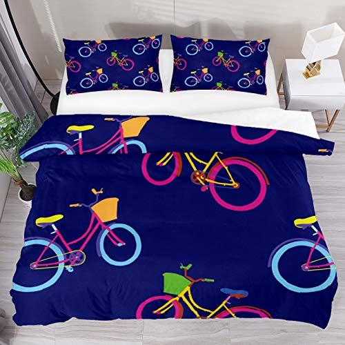 BOLIMAO 3 Pieces Bicicleta Cycle Bike Pattern Duvet Cover Set Super King 102'x87' Breathable Bedding Sets for Adult Women Men Teens (No Comforter)