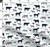 Nutztiere, Mint, Marineblau, Bauernhof, Kühe, Pferd Stoffe