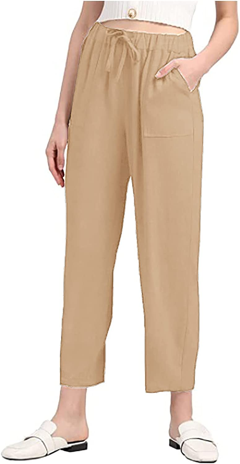 Women Solid Color Pants Casual Drawstring Stretch High Waist Trousers Fashion Straight Leg Ankle Pants with Pockets