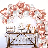 MOVINPE Rose Gold Balloon Arch Garland Kit Party Decoration, 95pcs Latex Confetti Balloons 4pcs Foil Heart Star Balloon Tape Strips Tie Tools Flower Clips Tape for Girl Woman Birthday