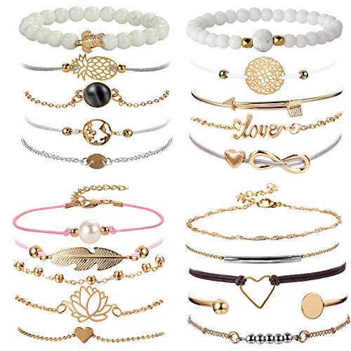YADOCA 20 Pcs Layered Bracelet Set for Women Multiple Stackable Wrap Bangle Turtle Pineapple Arrow Feather Lotus Assorted Beaded Bracelets Adjustable Jewelry
