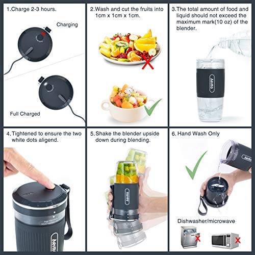 Portable Blender, Cordless Personal Blender Juicer, Mini Mixer, Smoothies Maker Fruit Blender Cup With USB Rechargeable, 10oz/300ml for Home, Office, Sports, Travel, Outdoors,by Aeitto, Dark Grey