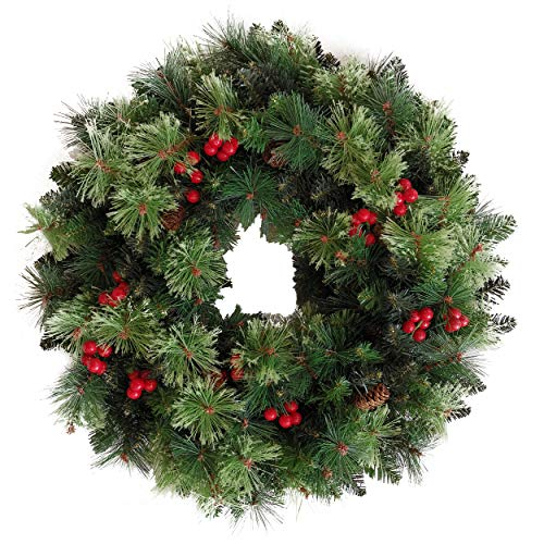 Senjie Artificial Christmas Wreath with Pine Cones and Red Berries,24 Inch Xms Decorations Unlit