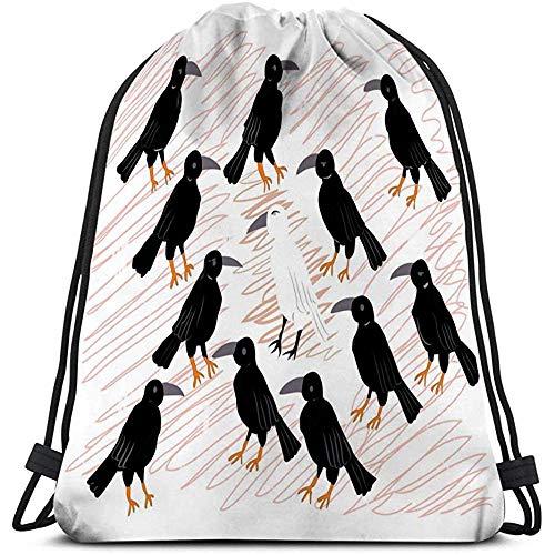 BOUIA Mochilas con cordón Viaje Solitario Cuervo Blanco Negro sombreado Kawaii