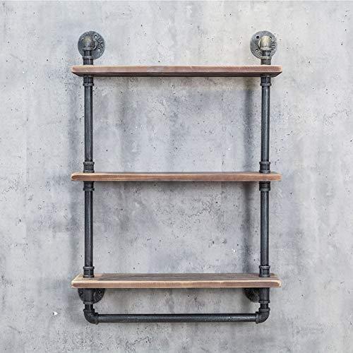 MDEPYCO Industrial Pipe Bathroom ShelvesRustic 20in Wood Shelf with Towel BarFarmhouse Towel RackMetal Floating Shelving Towel HolderWall Mounted 3 Tier Iron Distressed Shelf Over Toilet