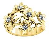 5 anillos de piedra natal personalizados, anillo de nombre DIY, anillo de flores, anillo de promesa, Navidad para mujeres(Chapado en oro de 18 k 22.5)