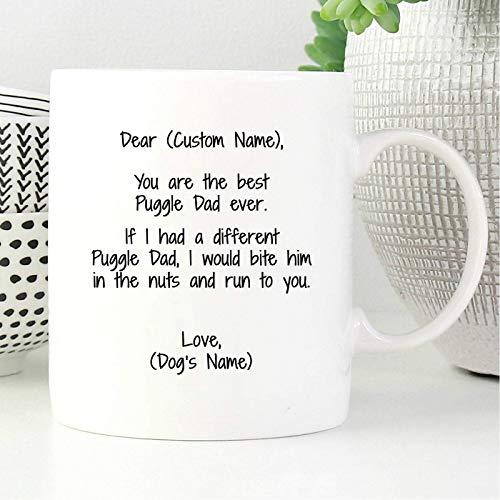 Puggle Dad Taza de café personalizada, Dexter Taza de cerámica Taza de bebida de té para el hogar y la oficina, cumpleaños, aniversario, Halloween, Navidad, San Valentín, idea de regalo para el día de