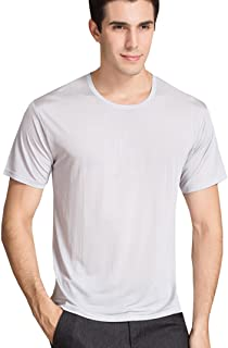 Men's Silk T-Shirt|Super Breathable Crew Neck Silk Tee Shirts For Men