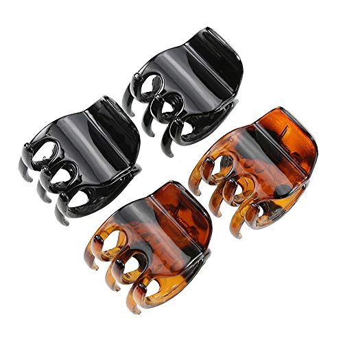 minihope Women's And Girls`s Classics 4 Medium Claw Clips, Great for Easily Pulling Up Your Hair,Pefrect for All Hair Types, Plastic Material, Black and Brown Colors, 4 Count (Pack of 1)