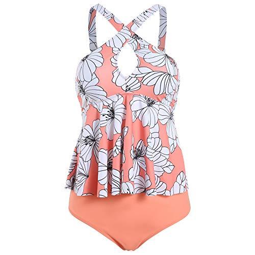 Viloree Damen Frauen Tankini Set Zweiteilig Bademode Schwimmanzug Große Größen Push Up Bauchweg Rosa L