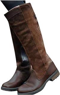 Wadonerful Women Mid-Calf Boots Round Toe Low Block Heel Zipper Long Boots Retro Patchwork Knee High Boots Knight Boot