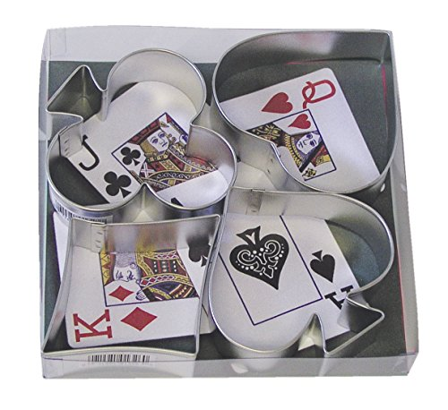 R&M International Casino Playing Card Suits Cookie Cutters, Spade, Heart, Club, Diamond, 4-Piece Set