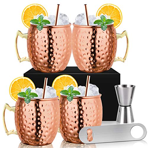 Moscow Mule Mugs – Set of 4 Copper Plated Stainless Steel Mug 18 oz, Perfect for Cold Drink