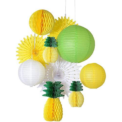 ANCLLO Fiesta de verano de panal de piña juegos de bolas tropicales hawaianas fiesta Festival de papel linterna ventilador decoración