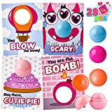 28 Pcs Make up Lip balm with Figures Valentine's Cards in 4 Designs for Kids Party Favor, Classroom Exchange Prizes, Valentine's Greeting Cards