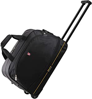 Rolling Duffle Bag with Wheels Trolley Travel Luggage Carry-On Short Term Trips Case Overnight Expandable 45L to 55L for Men Women (Black)