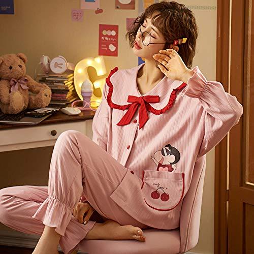 Pijama Mujer PrimaveraPrimavera Otoño Ropa De Dormir Conjuntos De 2 Piezas para Mujeres Pijamas De Algodón Kawaii Doll Collar Homewear Pijama Lindo Pijama De Dibujos Animados-L