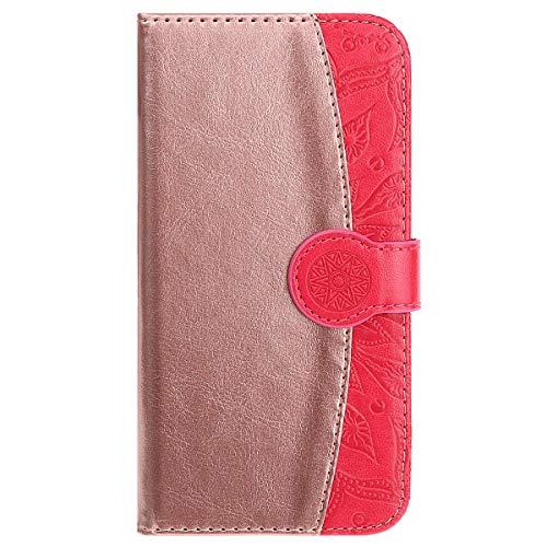 MoreChioce MoreChioce kompatibel mit iPhoneSE Hülle,kompatibel mit iPhone5s Hülle Leder Flip Case, Rose Gold + Rose Rot Handytasche Stand Klapphülle Protective Brieftasche Magnetische mit Kartenfach,EINWEG