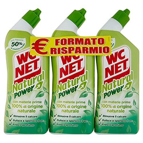 Wc Net Natural Power Gel, Anticalcare e Igienizzante per Sanitari e Superfici, Pulitore Liquido per Wc, 700 ml x 3 confezioni