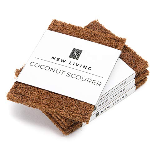 Coconut Scourer x 8 | Dish Scrubbers | Natural Latex Rubber Protection | Eco Friendly | Biodegradable | Natural Product | Non Scratch