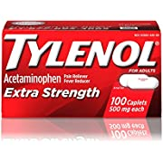 Tylenol Extra Strength Caplets with 500 mg Acetaminophen, Pain Reliever & Fever Reducer, For Headache, Backache & Menstrual Pain Relief, 100 ct