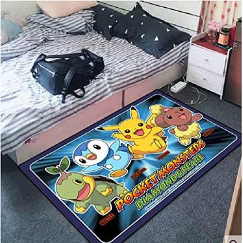 ZZXC Alfombra Dormitorio Manta De Cabecera Sala De Estar Baño Dibujos Animados Lindo Pikachu Juego Mat Rectangular Moderno Simple Decoración De La Habitación Alfombrilla