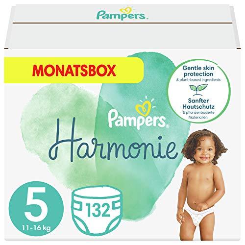 Pampers Baby Windeln Größe 5 (11+ kg) Harmonie, 132 Stück, MONATSBOX, Sanfter Hautschutz Und Pflanzenbasierte Inhaltsstoffe