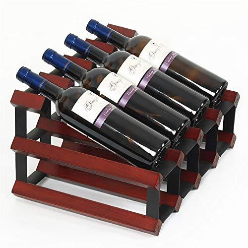 ZHPBHD Estante de Vino de Madera apilable de 2 Capas 6 Botellas de Almacenamiento de Rack de Vino de encimera: de pie Libre - para Barras, bodegas, sótanos, armarios, despensa, 41.7x30x22.7cm