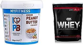 MYFITNESS Peanut Butter Crunchy 1250g & Optimum Nutrition (ON) 100% Whey Protein Powder - 1.85 lbs, 837 g (Chocolate Milks...