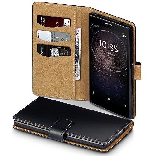 TERRAPIN, Kompatibel mit Sony Xperia L2 Hülle, Handy Leder Brieftasche Hülle Tasche mit Standfunktion Kartenfächer - Schwarz mit Hellbraun Interior