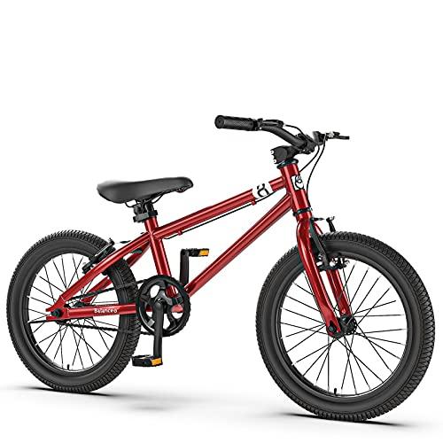 Bicicleta De Montaña para Niños De 16/20 Pulgadas (Solo 20,6 Libras) para Niños De 4 A 9 Años, Asiento Ajustable Que Se Ensambla Completamente En 10 Minutos, Plateado/Rojo,Rojo,20 Inch